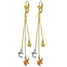 Tricolor Dolphin Elephant Star 14K Yellow Gold Plated Dangling Earrings-YG-SL-RG