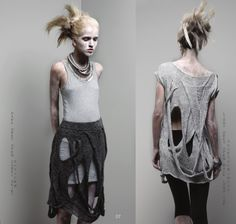Dark grey open cable shirt/Light grey open back Long top -  by Ying Chen - TasselYing