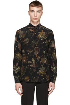 Versus - Black & Green Patterned Anthony Vaccarello Edition Shirt