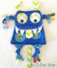 Monster Baby Security Tag Blanket Plush Toy by SewDPopShop on Etsy