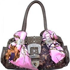 - Realtree® licensed rhinestone buckle handbag features 3 Compartments w/Mid… Real Tree Camouflage, Pink Camouflage, Camo Bridesmaid Dresses, Mossy Oak Camo, Purple Camo, Camo Outfits, Fashion Handbags, Purse Wallet, Purses And Bags