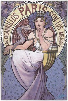 1897 Poster for 'Los Cigarillos Paris' lithograph Alphonse Mucha