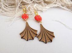 Orange Earrings Antique Gold Fan Earrings Vintage Opaque Orange White Dangles Art Deco Fan Earrings Long Earrings Gift for Her