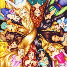 LOVE THEM! Snow White Anna  Tiana Belle Rapunzel Ariel Jasmine Aurona Pocahontas Cinderella  Mulan Merida