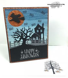 Created background using the By The Shore DSP stamped with the dots image from Halloween Scenes in Whisper White Craft Ink.  Halloween Scenes house in Basic Black Archival Ink.  Sentiment is from Halloween Treat, embossed in Silver.  For free instructions on how to make this card, please visit my blog at: https://stampsnlingers.com/2016/08/16/stampin-up-spooky-fun-halloween-treat/