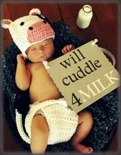 When I have a baby I am so doing this!! newborn outfits boy, diaper, kids and cows, newborn crochet outfits, newborn outfits girl, newborn boy crochet outfits, cow outfit, crocheted baby boy outfits, hat