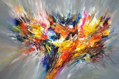 "Saatchi Art Artist Peter Nottrott; Painting, ""Colorful, abstrakt original 'Magnificent Anthracite...XL 3'"" #art"