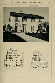 Mediterranean House Plans, Mediterranean Architecture, Classic Architecture, Architectural House Plans, Architectural Prints, Spanish Style Homes, Spanish House, Vintage House Plans, Vintage Homes