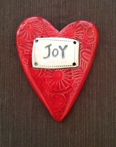 "$24.00 Ceramic Wall Plaque ""Joy"" Heart  © Malena Bisanti-Wall Studio"
