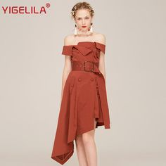 Find More Dresses Information about YIGELILA Brand 62424 Vintage Solid Slim A line Dress Spring New Sexy Slash Neck Off Shoulder Asymmetrical Dress,High Quality a-line dress,China asymmetrical dress Suppliers, Cheap brand dress from YIGELILA store on Aliexpress.com