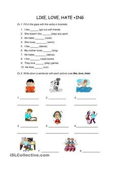 Two easy exercises to improve the use of the gerund and to express likes and dislikes - ESL worksheets