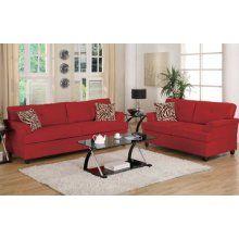 Poundex Contemporary 2 Pieces Red Microfiber Sofa Living Room Set