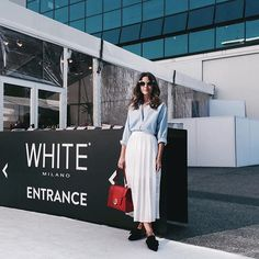 Standing at the entrance of @whiteshowofficial and excited to discover up and coming talents #WhiteMilano #lovelypepa #mfw
