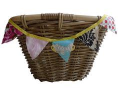 Flag Bunting for Bicycle Basket Yellow