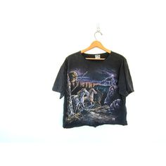 black cut off TShirt. Grunge Shirt. Graphic Lightning and Horses print... ($30) ❤ liked on Polyvore featuring tops, t-shirts, vintage tee-shirt, graphic t shirts, vintage t shirts, pattern t shirt and tee-shirt