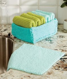 Free Knitting Pattern for Tidy Up Basket and Dishcloths - Easy pattern suitable for beginners from Yarnspirations. Dishcloth: Approx 8″ [20.5 cm] square. Basket: Approx 5 x 7 x 3″ [12.5 x 18. 7.5 cm].