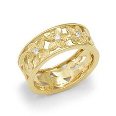 Plumeria+Scroll+8mm+Ring+with+Diamonds+in+14K+Yellow+Gold+-+Size+8