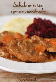 Galeria Smaku: Schab w sosie z porem i marchewką Pork Recipes, Cooking Recipes, Healthy Recipes, Food Experiments, Polish Recipes, Polish Food, I Foods, Food And Drink, Tasty