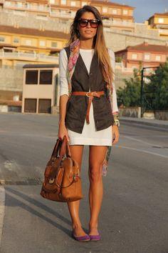 cargo vest__white dress
