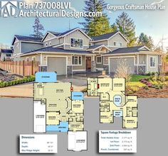 Architectural Designs Craftsman House Plan 737008LVL gives you 5 beds, 4 baths and over 4,100 square feet of heated living space. Ready when you are. Where do YOU want to build? #737008lvl #adhouseplans #architecturaldesigns #houseplan #architecture #newhome #newconstruction #newhouse #homedesign #dreamhome #dreamhouse #homeplan #architecture #architect #craftsmanhouse #craftsmanplan #craftsmanhome #northwest