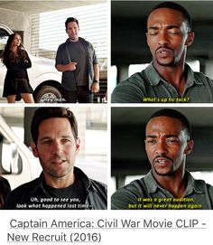Ant Man and Falcon in Captain America: Civil War << I think Sam's still salty about the event that happened in Ant-Man