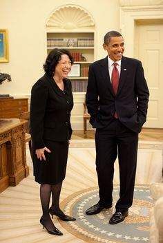 President Barack Obama and Justice Sonia Sotomayor meet in the Oval Office prior to a reception for the new Supreme Court Justice at the White House, August 12, 2009.