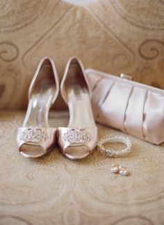 Blush Rhinestone Peep Toe Bridal Shoes | photography by http://www.lauraivanova.com/
