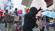 ecb protest clown