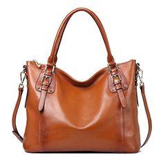 Amazon.com: Kattee Women's Vintage Genuine Soft Leather Tote Shoulder Bag (Black, Small): Shoes
