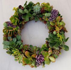 modern wreath with fresh succulents