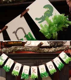 Alligator Themed Boy's 1st Birthday Party Banner Idea - Spaceships and Laser Beams