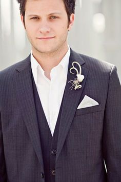 Navy Blue Wedding Suit - interestingly casual. Love the pin stripe