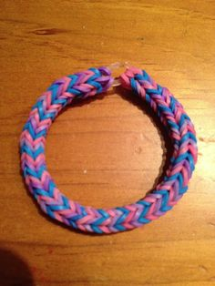 Triple single pattern fishtail bracelet using the Rainbow Loom.  Pink, purple and blue.  Directions for doing with one loom here:  http://m.youtube.com/watch?feature=related&v=6c2NL928fuQ