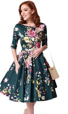 Autumn Vintage Plus Size Dress Women Floral Swing Dress Round Neck Half  Sleeve High Waist Back Zip Pleated Party Dresses female 0cc3059c7