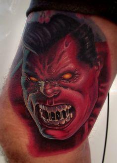 Red Hulk tattoo portrait