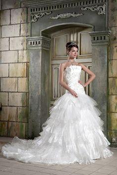 Ball Gown Strapless Satin Organza Net Chapel Train Wedding Dress