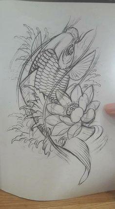 tattoos in japanese prints Koi Fish Drawing, Koi Fish Tattoo, Fish Drawings, Tattoo Drawings, Body Art Tattoos, Sleeve Tattoos, Tatoos, Japanese Tattoo Art, Japanese Tattoo Designs
