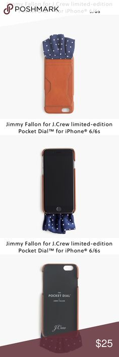Jimmy Fallon x J.Crew Pocket Dial™ for iPhone 6/6s New never used/ monogrammed TC on back/ Jimmy Fallon, the host of The Tonight Show, had a vision for something that would take his style to the next level, so he whipped up a prototype and approached us with an idea: an iPhone case and a pocket square in one. We loved it and worked with Fallon to develop the limited-edition Pocket Dial™ because carrying your phone in your pants is so 2014.  Leather case, silk pocket square in classic navy…