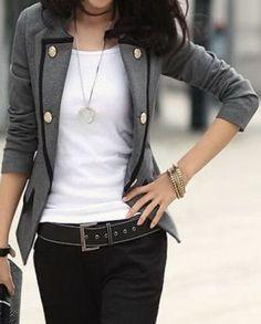 Grey Contrast Trims Double Pockets Long Sleeve Suit