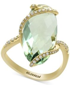 Effy Green Amethyst (7-1/4 ct. t.w.) and Diamond (1/5 ct. t.w.) Ring in 14k Gold - Green