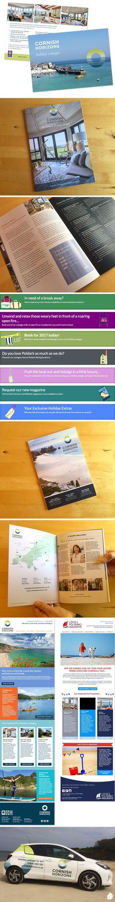 Here is just a taster of the work we have been doing for holiday cottage company Cornish Horizons. From flyer design, to creating their magazines and brochures. We have also sign written cars, illustrated web banners and designed their direct mail newsletters!