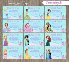 Disney Princess Thank You Tags Princess Thank You by CutePixels