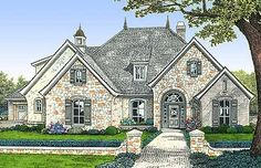 Attractive French Country Exterior - 48005FM | European, French Country, Photo Gallery, 1st Floor Master Suite, Bonus Room, CAD Available, Den-Office-Library-Study, Jack & Jill Bath, MBR Sitting Area, PDF, Split Bedrooms, Corner Lot | Architectural Designs