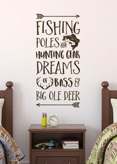 Products Fishing Poles and Hunting Gear Dreams of Bass and Big Ole Deer, Fishing, Cabin, Lake, Wall Fishing Bedroom, Hunting Bedroom, Hunting Nursery, Fishing Nursery, Hunting Baby, Hunting Gear, Archery Hunting, Boys Hunting Room, Hunting Signs