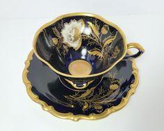 Gorgeous Cobalt and Gold Teacup and Saucer - Lindner Kueps Bavaria Echt Cobalt 'Isabel' - Floral with Butterfly Teapots And Cups, Teacups, Antique Tea Sets, Teapots Unique, My Cup Of Tea, Tea Service, Tea Cup Saucer, Vintage Tea, Tea Time