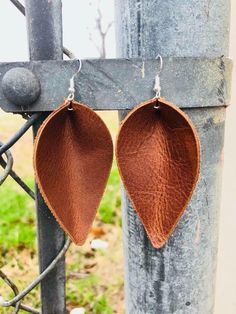 Tan Real Leather Earrings