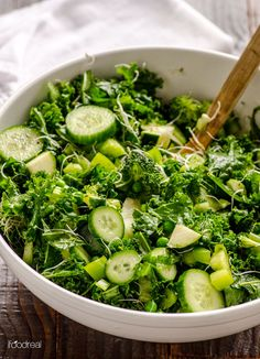 Green Kale Salad Recipe -- This salad will please the most avid kale hater and doesn't get soggy for up to 48 hours.