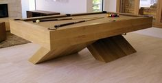 Hirsch Custo Cabinets - contemporary quarter-sawn white oak X base pool table