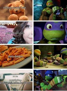 Donnies eyes r red.>well their kinda red-brownish. But I see ur point. Ninga Turtles, Pretty Brown Eyes, Tmnt 2012, Fan Art, It Goes On, Teenage Mutant Ninja Turtles, Cinema, Anime, Childhood