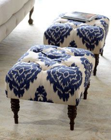 tufted stools in ikat